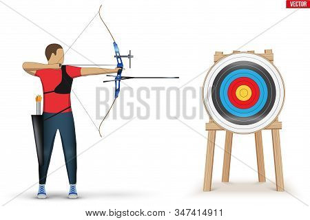 Archer With Bow Archery And Target. Athlete Archer Man Aiming An Arrow. Infographics Of Archery Spor