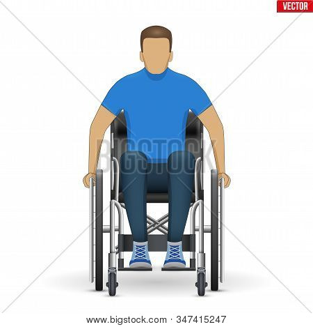 Disabled Man In Wheelchair. Equipment For Handicapped. Front View. Vector Illustration Isolated On W