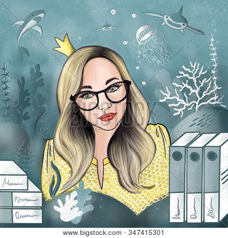 Girl Manager, Secretary Fulfills Desires Like A Sorceress, A Goldfish. At Work, Like A Fish In Water