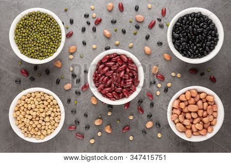 Grains Or Beans, Red Bean, Black Bean, Green Bean, Soybean, Peanut In The White Bowl Placed On The B