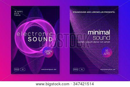 Electronic Fest. Dynamic Fluid Shape And Line. Energy Discotheque Brochure Set. Neon Electronic Fest