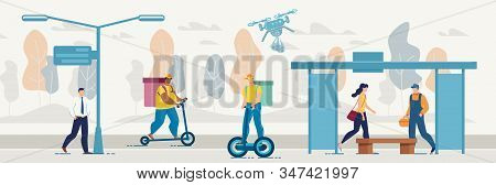 Different Food, Goods And Parcels Delivery Ways. City Urban Street With Deliverymen And Couriers Del