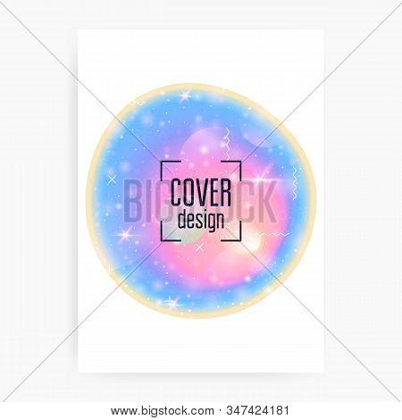 Holographic Background. Princess Gradient. Kawaii Unicorn Hologram. Girlie Universe Banner. Fantasy