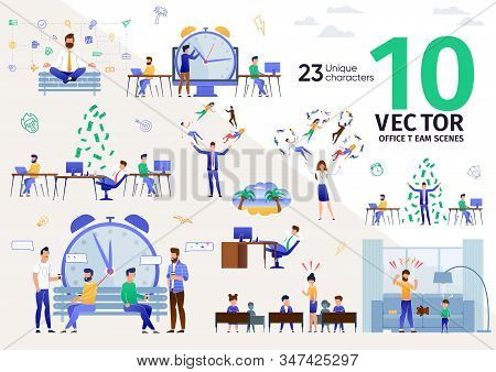 Office Workers, Business Leaders Work Routines Trendy Flat Vector Scenes Set. Employees At Workplace