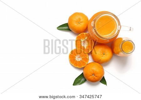 Top View Of Orange Juice Isolated On White Background