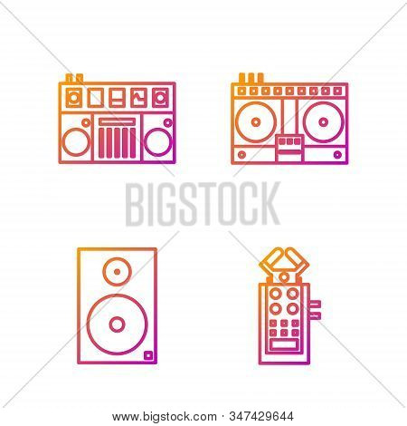 Set Line Microphone, Stereo Speaker, Dj Remote For Playing And Mixing Music And Dj Remote For Playin