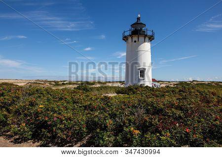 PROVINCETOWN, MASSACHUSETTS-SEPTEMBER 15: Race Point lighthouse in Provincetown in Cape Cod , Massachusetts, USA on September  15, 2014.