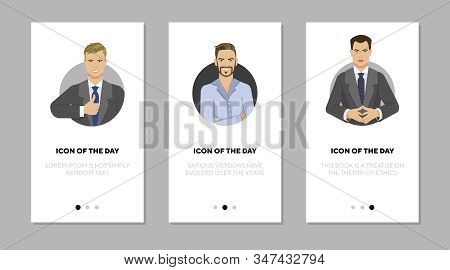 Handsome Businessmen Flat Vector Icon Set. Male, Power, Suit, Corporate Isolated Sign Pack. People A