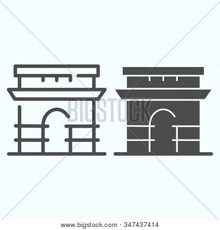 Triumphal Arch Line And Solid Icon. French Arch Of Triumph Vector Illustration Isolated On White. Tr