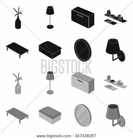 Vector Illustration Of Bedroom And Room Logo. Set Of Bedroom And Furniture Vector Icon For Stock.