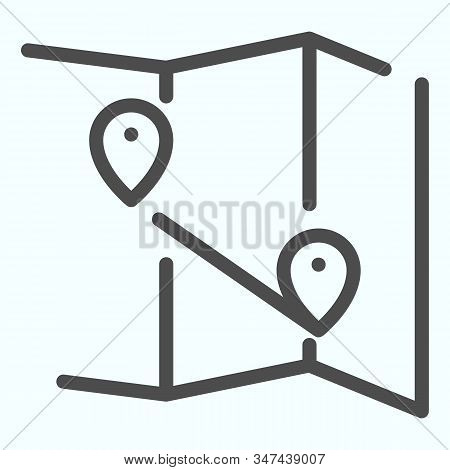 Map Line Icon. Atlas With Two Pointers Vector Illustration Isolated On White. World Map With Marks O