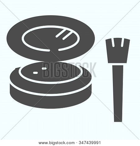 Cosmetic Makeup Powder And Brush Solid Icon. Female Powder And Brush Vector Illustration Isolated On