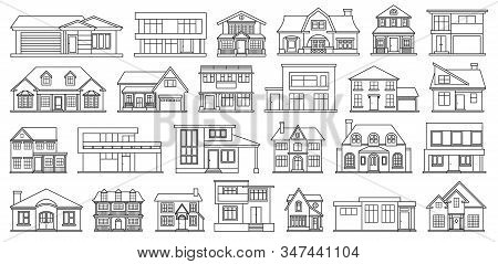 Villa Of House Vector Outline, Line Set Icon.vector Illustration Building Of Home.isolated Outline,