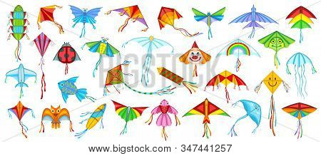 Flying Kite Vector Illustration On White Background .festival Kites Cartoon Set Icon.isolated Cartoo