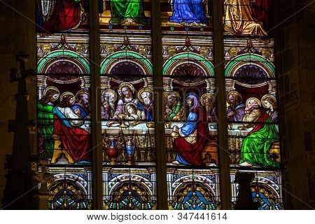 Saint Emilion, France - September 8, 2018: Last Supper -  Stained Glass Window At The Collegiale Chu