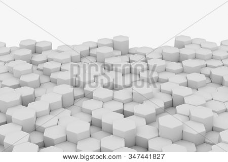 White Wall Of Honeycombs. Chaotic Cubes Wall Background. Panorama With High Resolution Wallpaper. 3d