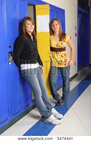 Classmates In School Hallway