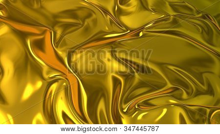 3d Render Beautiful Folds Of Golden Silk In Full Screen, Like A Beautiful Clean Fabric Background Li