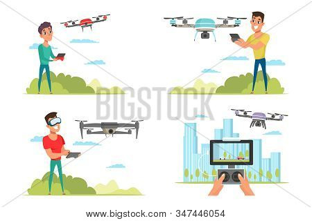 People With Drone Quadcopter Flat Vector Illustrations Set. Remote Unmanned Aerial Vehicle With Came