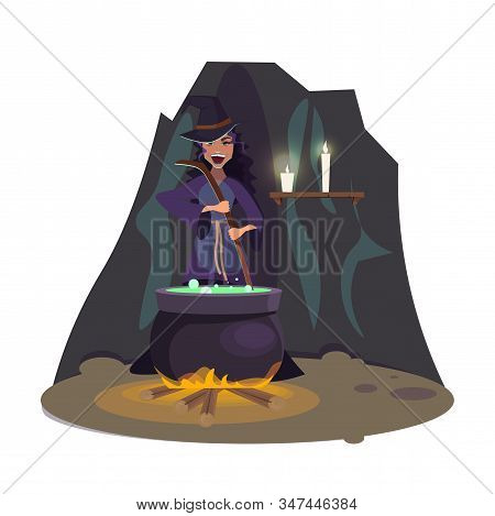 Evil Witch Brewing Potion Flat Vector Illustration. Halloween Costume, Trick Or Treat. Steaming Pot.