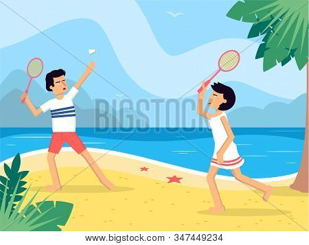 Couple Playing Badminton Flat Vector Illustration. Husband And Wife With Tennis Racquets Cartoon Cha