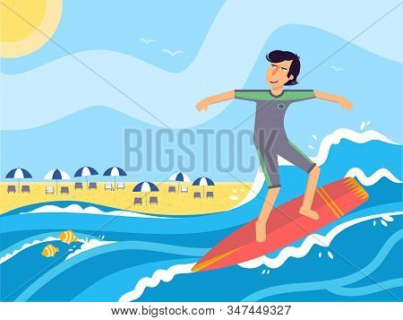 Man Ride On Surfboard Flat Vector Illustration. Young Happy Surfer In Swimsuit Cartoon Character. Sp