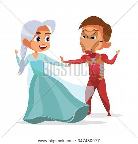 Little Kids In Halloween Suits Vector Illustration. Girl In Dress And Boy In Mask Cartoon Characters