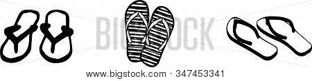 Slippers Icon Isolated On Background , Vacation, Vector, Wear, Wet Slipper, White