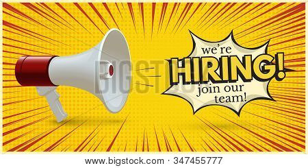 Hiring Invitation Template With Realistic Megaphone On Yellow. Recruitment And Human Resources Searc