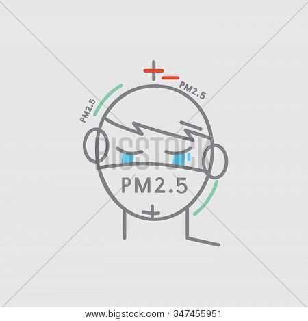 Line Icon A Man Crying Masked Prevent Dust Pm2.5 Vector Illustration. Eps 10
