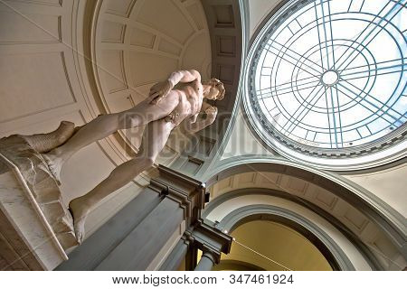 Florence, Tuscany, Italy July 18 2018: The Statue Of David, Completed By Michelangelo Buonarroti In