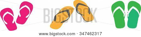 Slippers Icon Isolated On Background  Vector, Wear, Wet Slipper, White