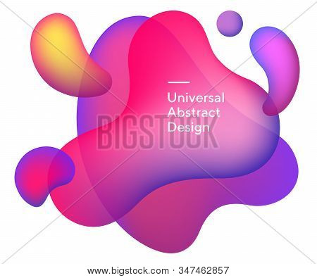 Liquid Bright Abstract Drops. Universal Curvy Figures, Flowy Lines, Wavy Shapes. Purple, Orange And