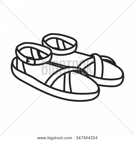 Summer Sandal Vector Icon.line Vector Icon Isolated On White Background Summer Sandal .