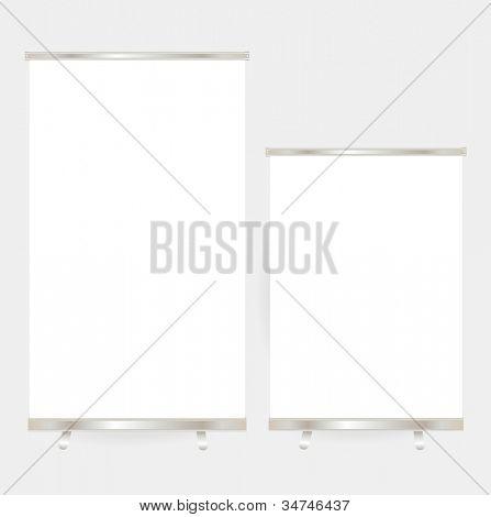 Blank roll up banner display. Vector Illustration.