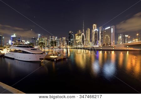 Dubai Skyline From Marasi St, Dubai Business Bay, United Arab Emirates