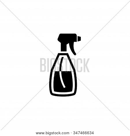 Spray Bottle, Cleaning Aerosol. Flat Vector Icon Illustration. Simple Black Symbol On White Backgrou