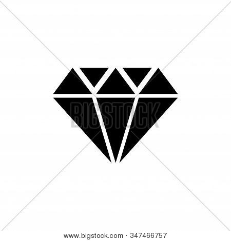 Diamond Stone, Gemstone, Jewel. Flat Vector Icon Illustration. Simple Black Symbol On White Backgrou