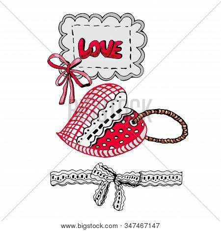 Composition With Hand Drawn Sketch Of  Sewing Hearts And Decorative Tape, Bow And Label. Color Eleme