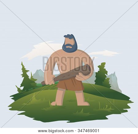 Caveman Standing In The Woods With His Bat. Flat Vector Illustration.