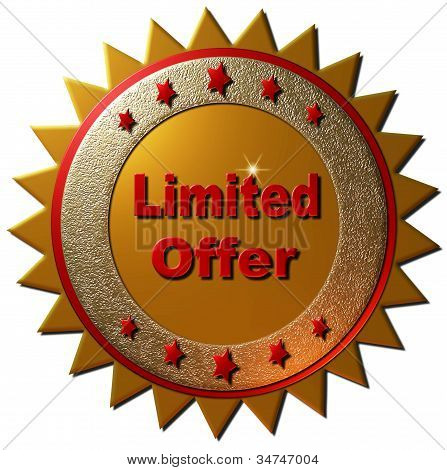 """This gold and red seal declaring that it is a """"limited offer"""" can be used to promote membership on the web or other promotional material poster"""