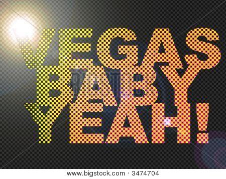 Dotted Led Lit Vegas Baby Yeah! Sign Glowing Bright Orange