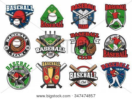 Baseball Sport Vector Icons And Badges, Game Cup And Team Symbols. Softball School, Team, League Ico
