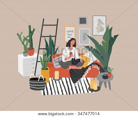 Girl Sitting And Resting On The Couch With A Cat And Coffee. Daily Life And Everyday Routine Scene B