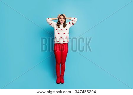 Full Length Body Size View Of Nice Attractive Cheerful Cheery Ecstatic Overjoyed Girl Wearing Festal