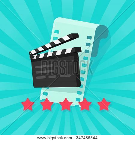 Film Or Movie Cinematography Rating Or Review Vector Illustration Flat Cartoon, Rate Stars With Film