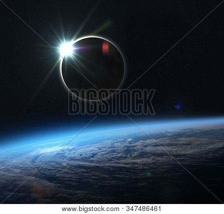 Planet Earth, Moon And Solar Eclipse. Solar Eclipse, Mysterious Natural Phenomenon When Moon Passes