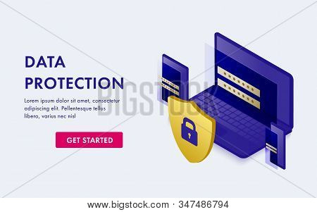 Data Security Protection Concept. Business Verification Technology, Safety And Confidential Software
