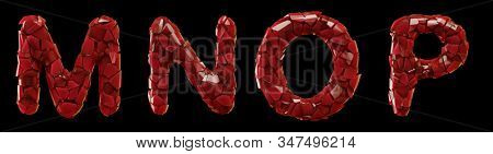 Plastic set M, N, O, P made of 3d render plastic shards red color. Collection of plastic alphabet isolated on black.