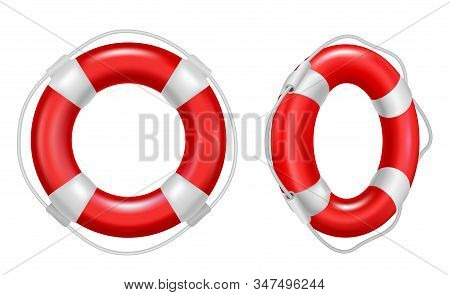 Realistic Detailed 3d Red Lifebuoy Ring Set Symbol Of Safety And Rescue. Vector Illustration Of Life